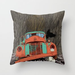 Rusted old truck, wolf skull, raven. Throw Pillow