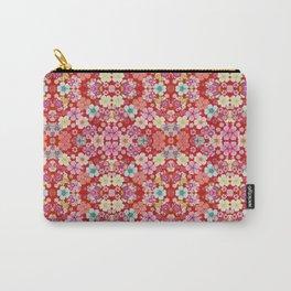 Crimson Floral Chirimen Carry-All Pouch