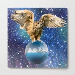 Owl Holding the World Metal Print