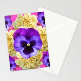 PURPLE PANSY FLOWERS & IVORY ROSES  PINK ART Stationery Cards