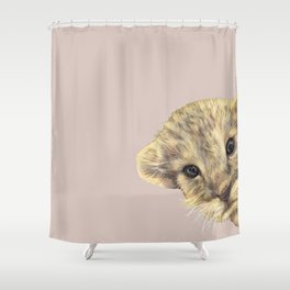 peeping lion cub Shower Curtain