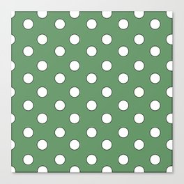 Green Pastel Polka Dots Canvas Print