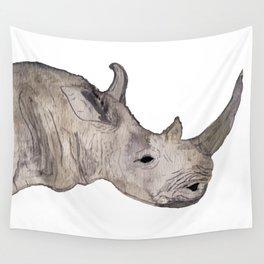 Watercolor Rhino Wall Tapestry
