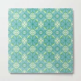 Green Lisbon Tile Geometric Print Metal Print