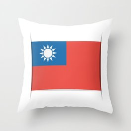 Flag of Taiwan.  The slit in the paper with shadows. Throw Pillow
