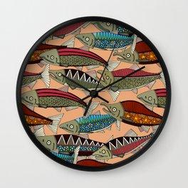 Alaskan salmon peach Wall Clock