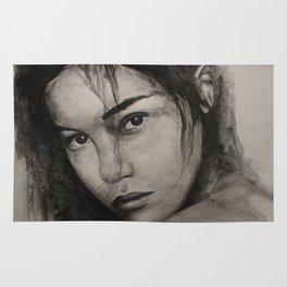 Graphic art, painting coal portrait pretty girl Rug
