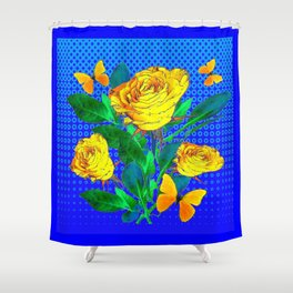 YELLOW BUTTERFLIES, ROSES, & BLUE OPTICAL ART Shower Curtain