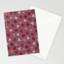 All over Modern Ladybug on Mauve Pink Background Stationery Cards