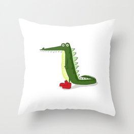 cocodrilo con botas Throw Pillow