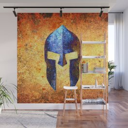 Blue Spartan Helmet On Rust Background - Molon Labe Wall Mural