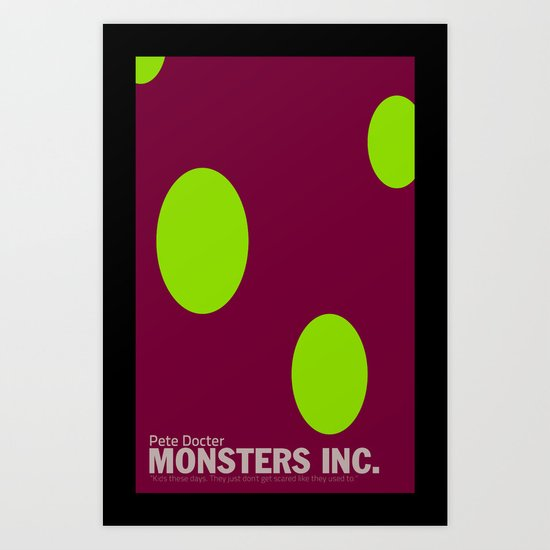 Monsters Inc. | Minimal Movie Poster Art Print