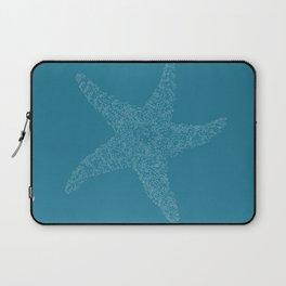 Starfish Bliss White on Dark Teal - Digital Art  Laptop Sleeve