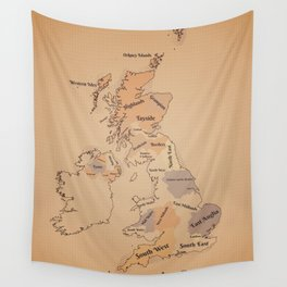 Regions of the United Kingdom vintage map Wall Tapestry