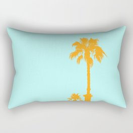 Orange palm trees silhouettes on blue Rectangular Pillow