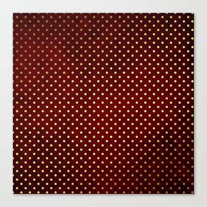 Adorable design for girls- Small gold dots on red backround Canvas Print