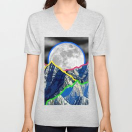 Colourful Mountain and Moon Collage Unisex V-Neck