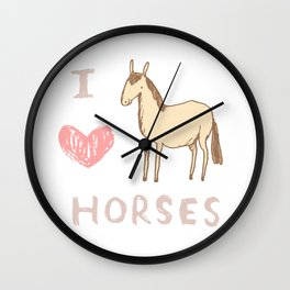 I ❤ Horses Wall Clock
