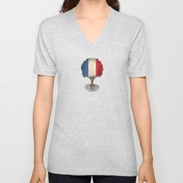 Vintage Tree of Life with Flag of France Unisex V-Neck