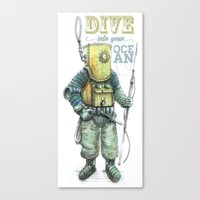 diver Canvas Prints featuring Diver by pakowacz