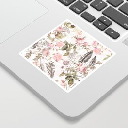 Vintage & Shabby Chic - Blush Roses and Fern Leaf Sticker