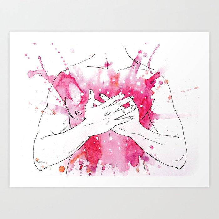 exploding heart Art Print