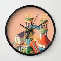 escher Wall Clocks featuring Escher playground  by Chiara Vercesi