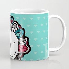 Doodle Lion on Aqua Triangle Background Coffee Mug
