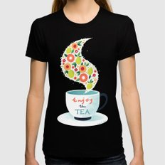 Enjoy the Tea Womens Fitted Tee SMALL Black