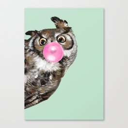Sneaky Owl Blowing Bubble Gum Canvas Print