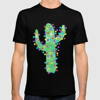 Festive Cactus Mens Fitted Tee MEDIUM Black