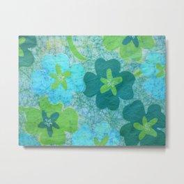 Floral batik in blues and greens Metal Print