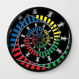 Spinning Disc Golf Baskets Wall Clock