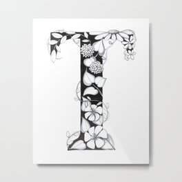 Floral Pen and Ink Letter T Metal Print