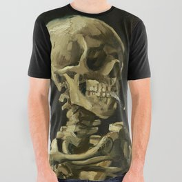 Skull of a Skeleton with Burning Cigarette by Vincent van Gogh All Over Graphic Tee