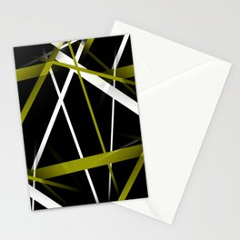 Seamless Olive Green and White Stripes on A Black Background Stationery Cards