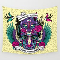 frida Wall Tapestries featuring Frida by Fly Design Studio