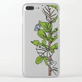 Lined Fig Tree and Blue Butterfly Clear iPhone Case