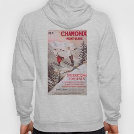 1910 France Chamonix Skiing PLM Travel Poster Hoody
