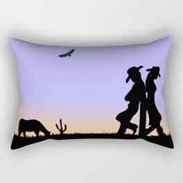 Western Cowboy and Cowgirl on the Range Rectangular Pillow