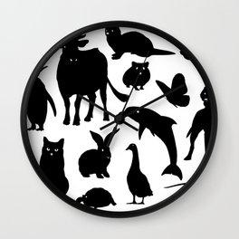 ANIMALS PATTERN Black Silhouette Pet Animal Cool Style Wall Clock