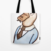 platypus Tote Bags featuring Mr. Platypus by Alexandra Hackett