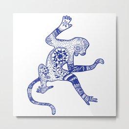 Blue Monkey Mandala Tribal Drawing Metal Print