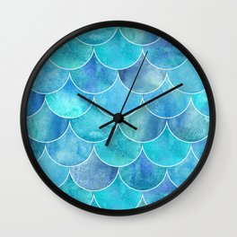 Turquoise Blue Watercolor Mermaid Wall Clock