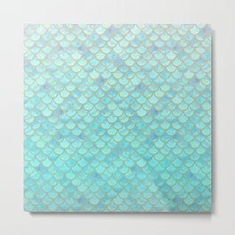 Teal Mermaid Scales Metal Print