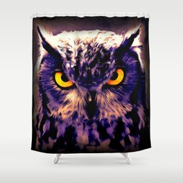 owl look digital painting reacls Shower Curtain