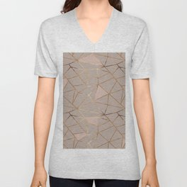 Geometrical mauve pink faux gold blush chic pattern Unisex V-Neck