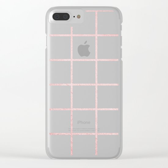 Simply Grid in Rose Gold Sunset Clear iPhone Case