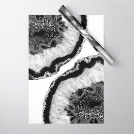 Gray Black White Agate Glitter Glamor #2 #gem #decor #art #society6 Wrapping Paper