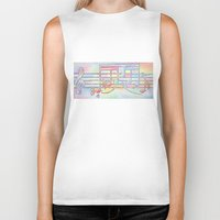 music notes Biker Tanks featuring Music Notes by Rick Borstelman